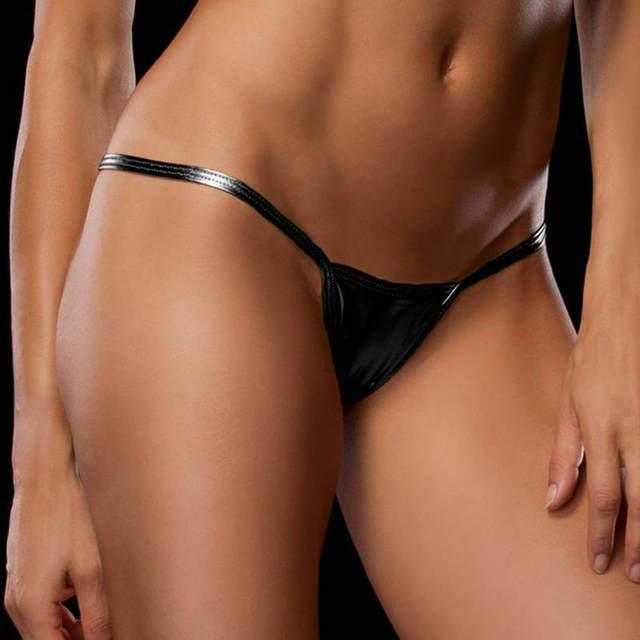 684cabbb7 Brilhante cadeia g micro mini calcinha sexy para as mulheres underwear  calcinha fio dental de couro