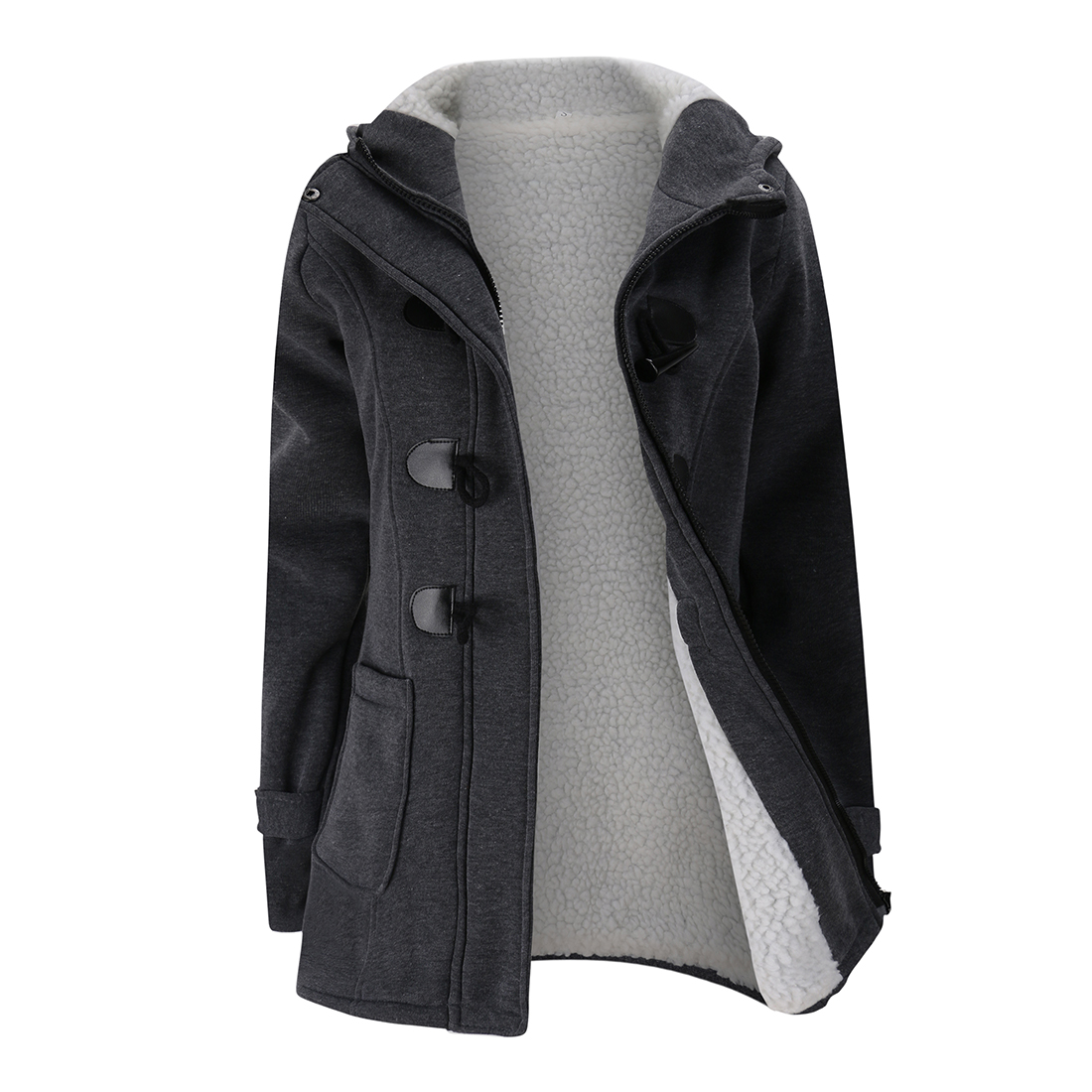 Women's Fashion Trench Coat Autumn Thick Lining Winter Jacket Overcoat Female Casual Long Hooded Coat Zipper Horn Button