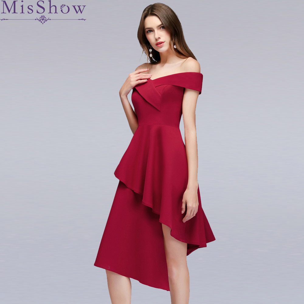 Sexy Burgundy high Low   Cocktail     Dresses   Elegant Short Reflective   Dress   Formal   Dress   Off The Shoulder   Dress   Women Short Prom Gown