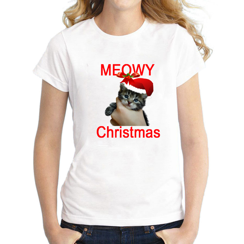 Cute Moewy Christmas T Shirt for Women Funny Cat Christmas Short Sleeve Top Tee for Ladies Plus Size S-3XL