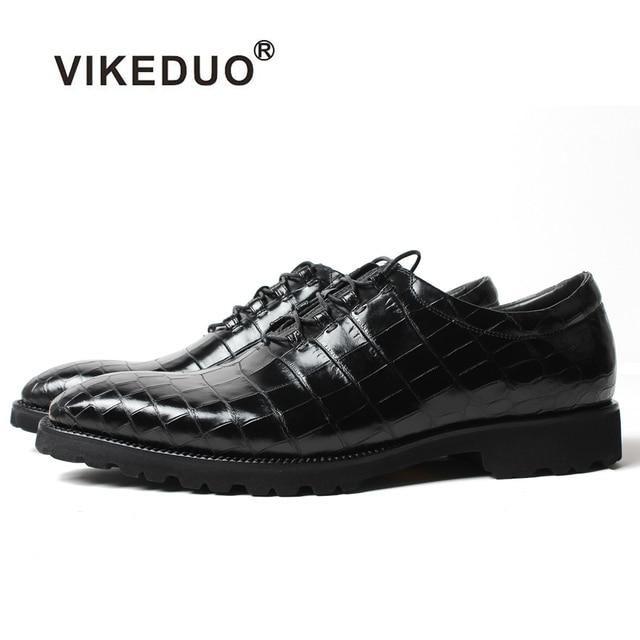 Vikeduo Hot Handmade Classic crocodile shoes Fashion Party Office Wedding Dress Shoe Male Genuine Leather Men Oxford dress Shoes