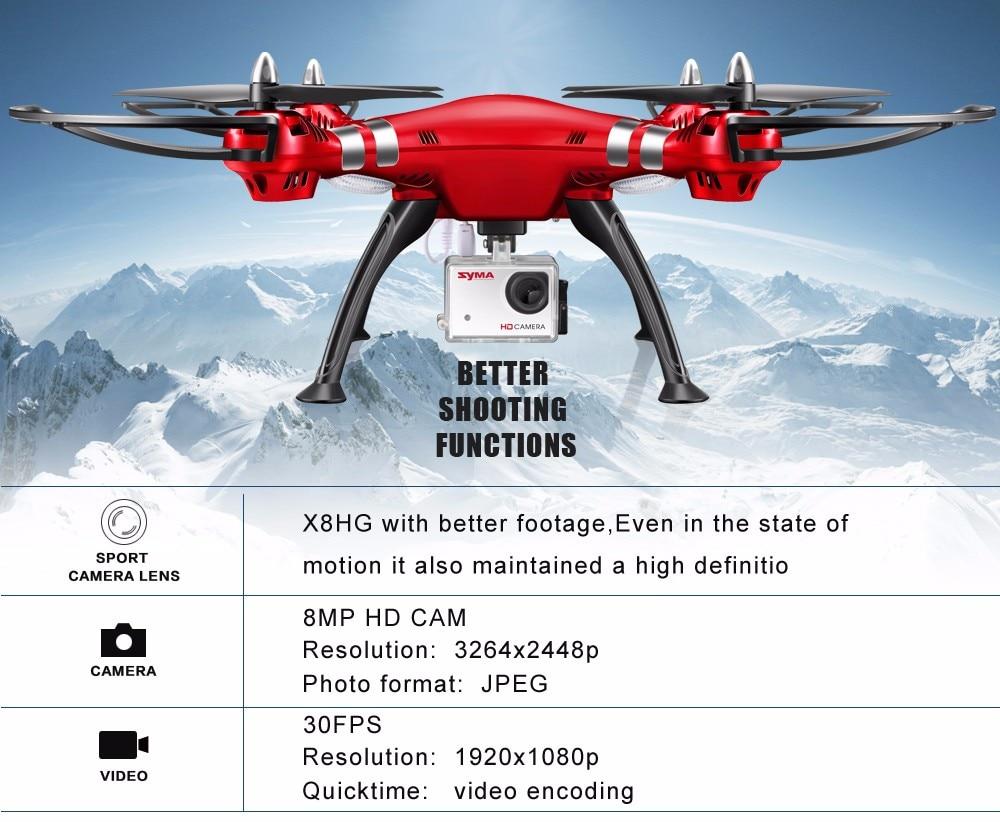 SYMA Professional UAV X8HG X8HW X8HC 2.4G 4CH RC Helicopter Drones 1080P 8MP HD Camera Quadcopter (SYMA X8C/X8W/ X8G Upgrade) 13