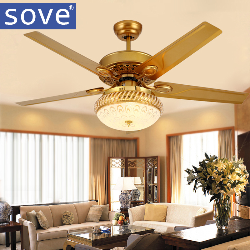 SOVE Modern 48 Inch Iron Blade Gold Crystal <font><b>Ceiling</b></font> Fans With Lights Remote Control <font><b>Ceiling</b></font> Light Fan Lamp Ventilador De Teto