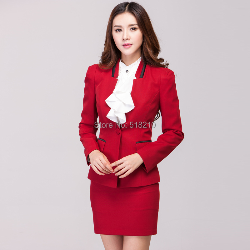 Aliexpress.com : Buy Fashion Red 2015 Formal Skirt Suits Autumn ...