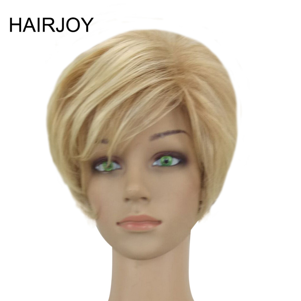 HAIRJOY Mujer Peluca Rubia Mezclada Corta Capas Sintética - Cabello sintético