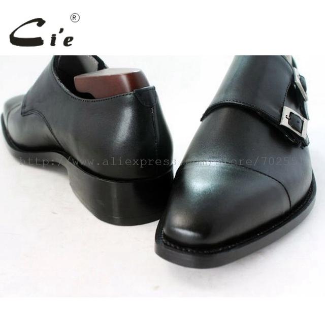 cie square captoe medallion double monk straps handmade leather men shoe100% genuine calf leather outsole breathable black MS46