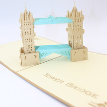 3D Laser Cut Handmade Retro Cover Double Color London Tower Bridge Paper Invitation Greeting Cards PostCard Business Party Gift(China)