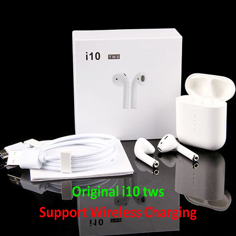 Original i10 tws Bluetooth 5.0 Earphones Wireless Headphones Earbuds Wireless Charging Touch control for iPhone Xiaomi Android