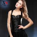 2015 Shapewear Waist Cincher trainer waist trainer Overbust corset vest black Color zipper grade leather Sexy Corset Bustiers