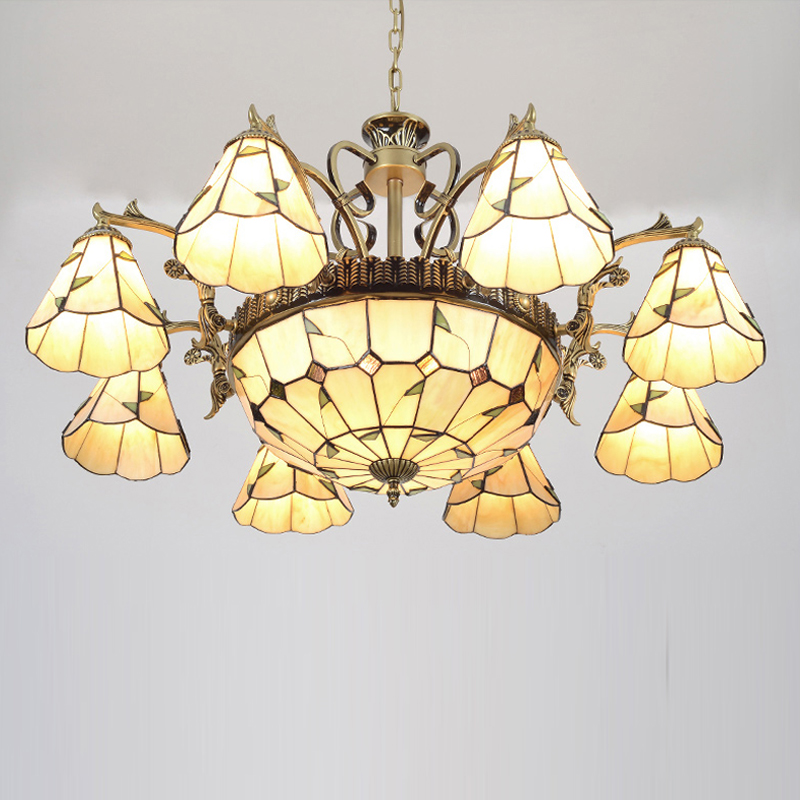 pastoral style handmade glass tiffany chandelier decoration romantic chandeliers american country industrial lightschina - Tiffany Chandelier