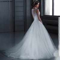 Vestido de novia vintage new Scoop neck tulle applique ALine ivory princess wedding dress trailing trouwjurk plus size cheap