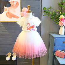Girls Clothes Set 2ps Short Sleeve Shirt+Cute Skirt Girl Flamingo Shirt And Gradient Pink Baby Summer Clothing