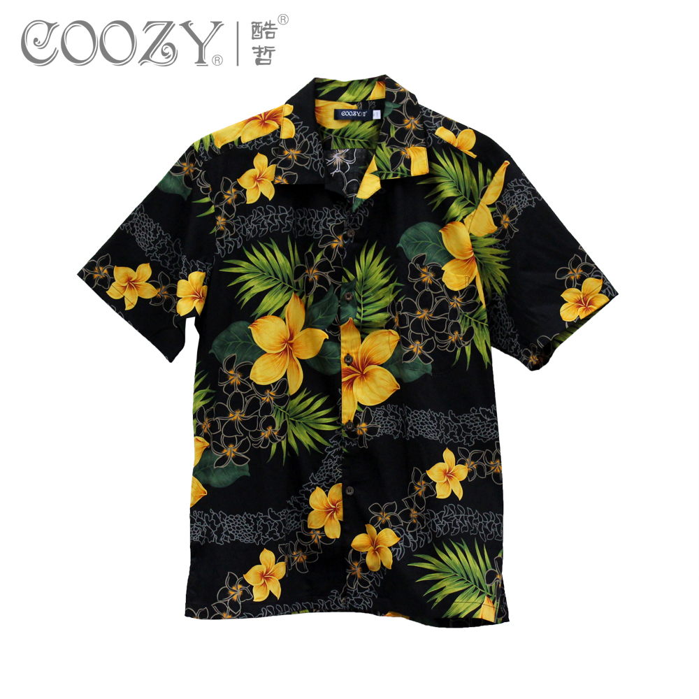 Hommes Hawaii À Lavage Noir 2013 Mode Décontractée 2xl Army Green L'eau Manches Mâle 3xl Courtes Vêtements Chemise YRnRvxwT7
