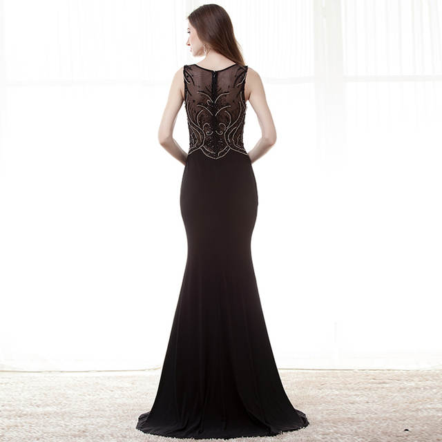 placeholder Long Black Evening Dresses 2018 Mermaid Scoop Side Split  Stunning Beaded Crystal Prom Dress African Formal 4cc1d7daa916