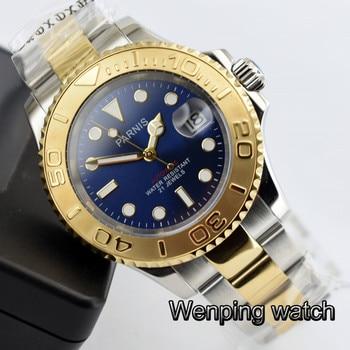 Fashion Parnis 40MM Blue Dial Men Watch Diver Sapphire Crystal ceramic bezel Luminous Automatic Mechanical Men's Watches