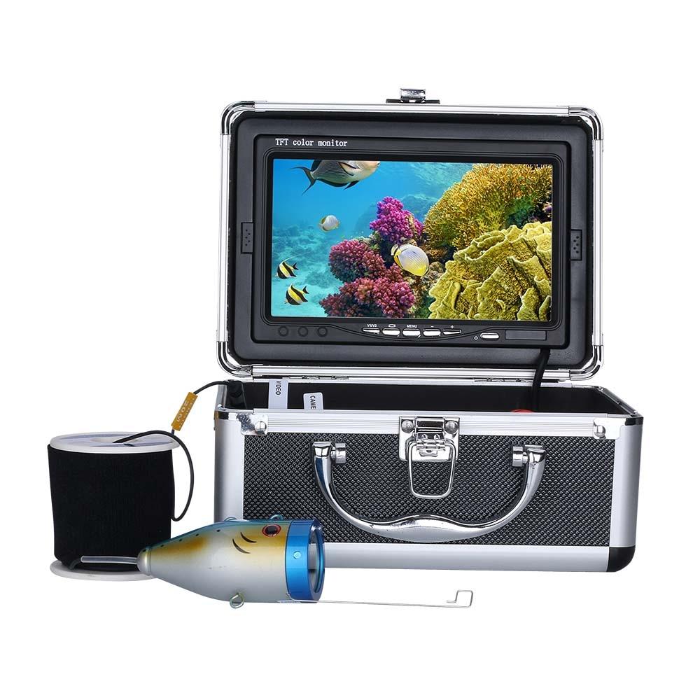 PDDHKK 7 ''pouces 1000 TVL étanche détecteur de poisson pêche caméra vidéo sous-marine 15 pièces led blanches + 15 pièces lampe infrarouge lac de glace