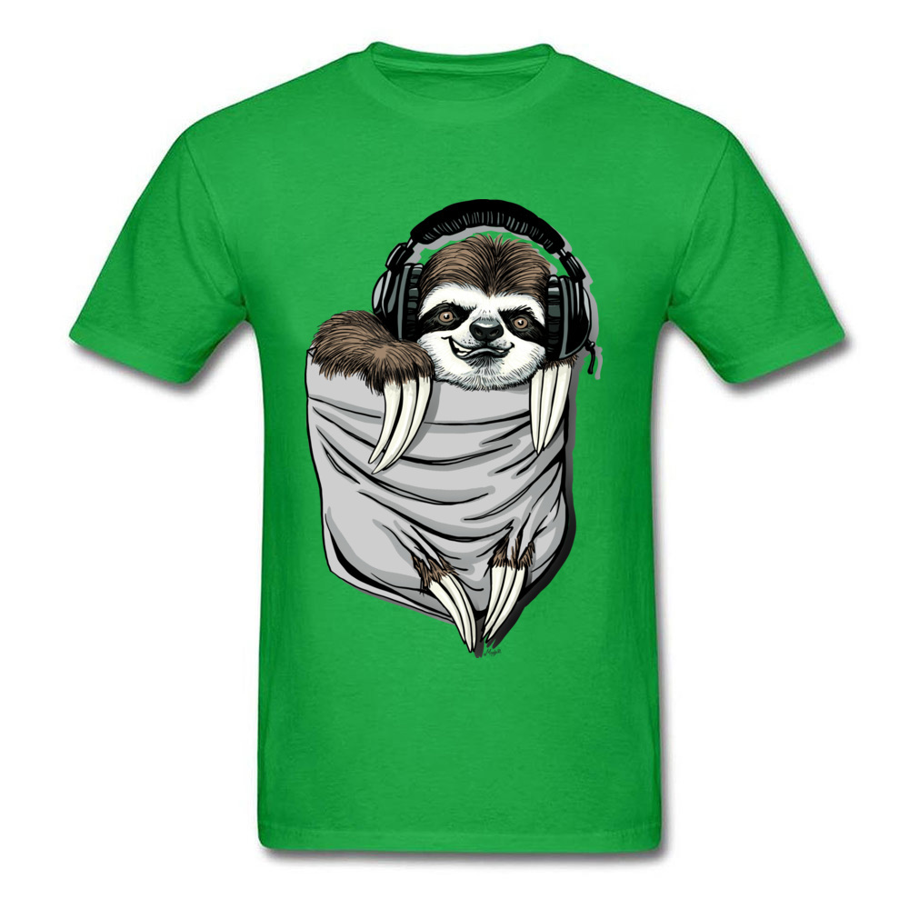 Прочный Шарм DJ Музыкальная гарнитура Ленивец Спортивная футболка мужская Спортивная Футболка серая футболка Kawaii дизайн карманный монстр одежда - Цвет: Green