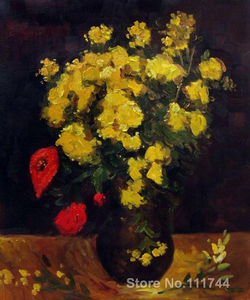 Wall Art Wazon Z Viscaria Kwiaty Maku Vincenta Van Gogha Obrazy Na Plotnie Handmade Martwa Natura Kwiatowy Wysokiej Jakosci Vases Bulk Vase Redart Vase Aliexpress