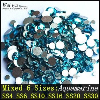 Mixed 6 Sizes Aquamarine Nail Art Glass Stones Round Non Hotfix Colorful Rhinestone For Fashion woman
