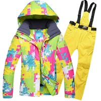 Men And Women Ski And Snow Warm Waterproof Outdoor Winter Brand New Green Pink Ski Jackt