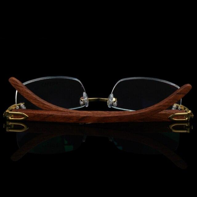 abff507374 Maskros Gold Wood Glasses Frame Men Rimless Eyeglass Frames for Male Frameless  Optical Eyeglasses Wooden Temple