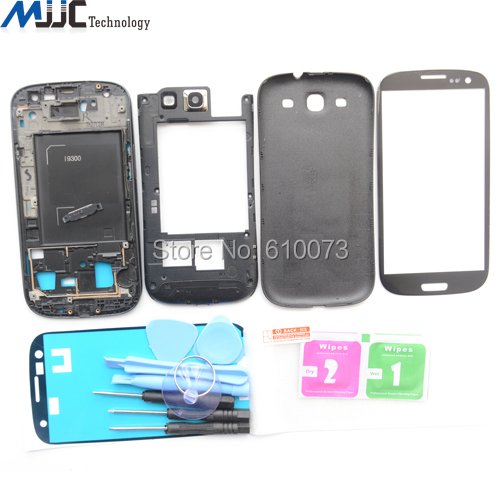 OEM Full Housing Replacement Parts For Samsung Galaxy S3 i9300 Tempered glass Front Glass Panel Tools