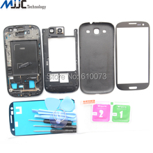 OEM Full Housing Replacement Parts For Samsung Galaxy S3 i9300 Tempered glass + Front Glass Panel + Tools