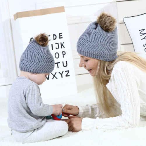 POP Mom Mother Baby turbante nudo pompón esponjoso sombrero niños niñas niños invierno cálido gorros