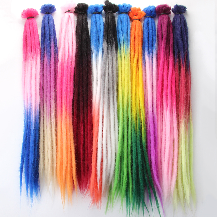 Synthetic 52 Colors Ombre Pink Red Soft Dreadlocks In Jumbo Braids Hair For Dreads Synthetic Faux Hair Extensions For Men Women