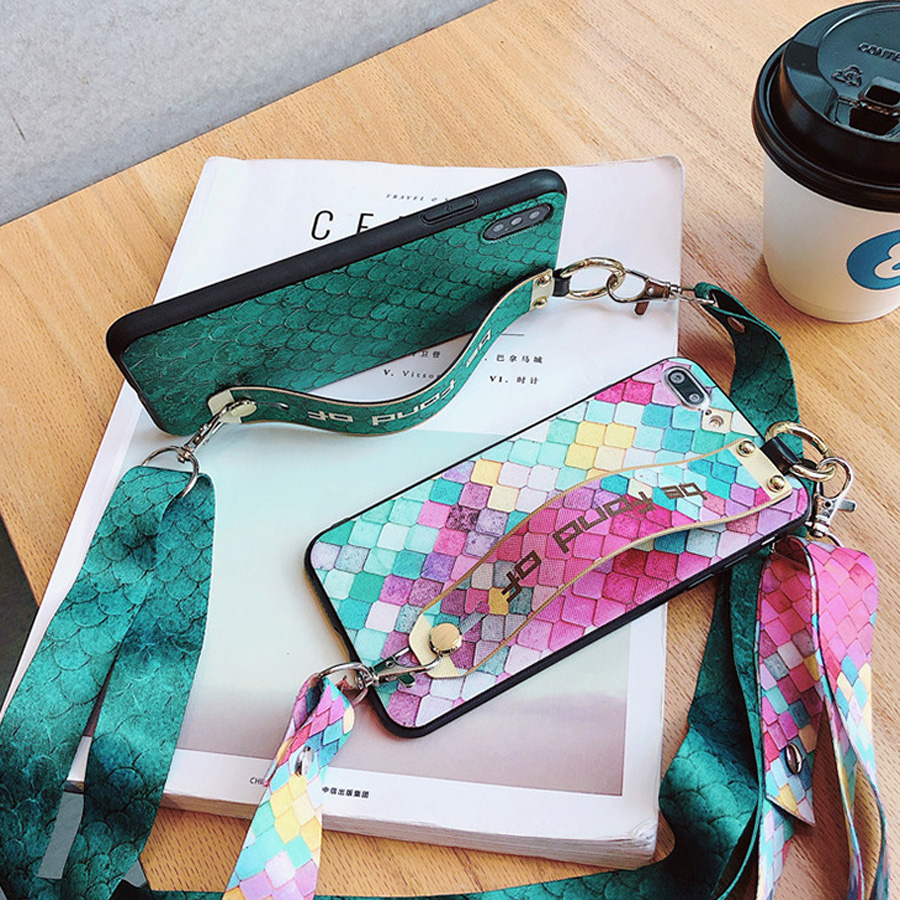 shoulder strap tpu pc case for xiaomi redmi note 7 5 pro mi 9 8 se lite case cover fashion scale wristband holder phone bag capa in Fitted Cases from Cellphones Telecommunications