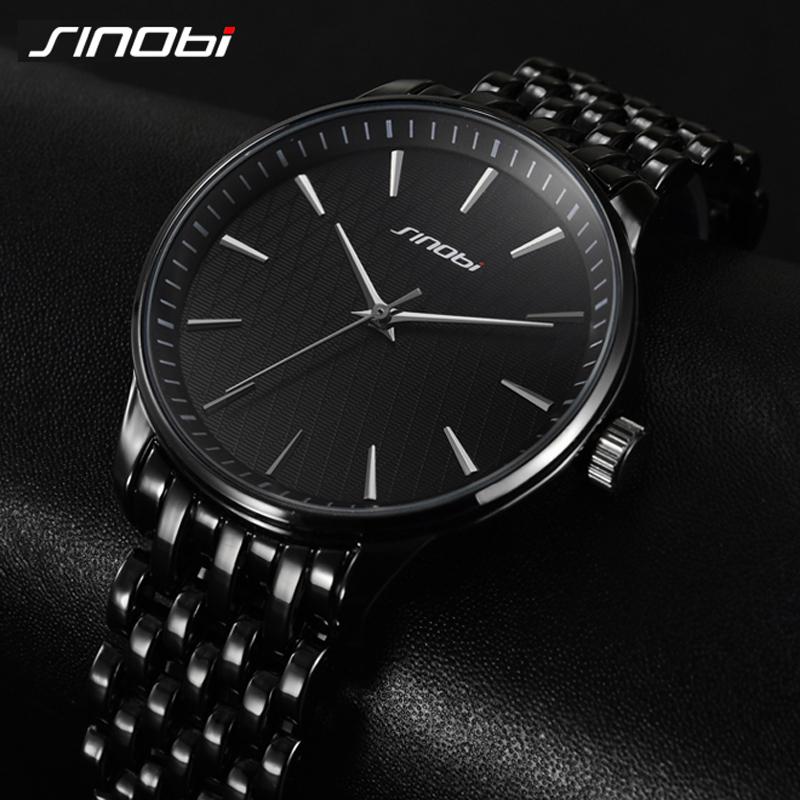 Prix pour De luxe Secret Noir Quartz Montre Hommes En Acier Plein bande D'affaires Décontractée Japon Horloge Marque SINOBI Montre-Bracelet 2017 Relojes hombre