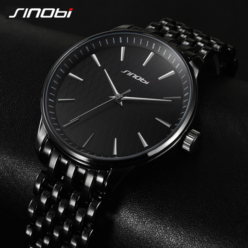 цены  Luxury Secret Black Quartz Watch Men Full Steel band Business Casual Japan Clock Brand SINOBI Wristwatch 2017 Relojes hombre