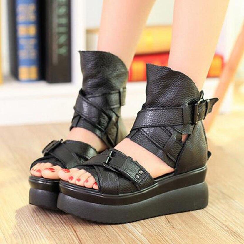 Kaufen Günstig 2019 Sommer Echtem Leder Frauen Sandalen
