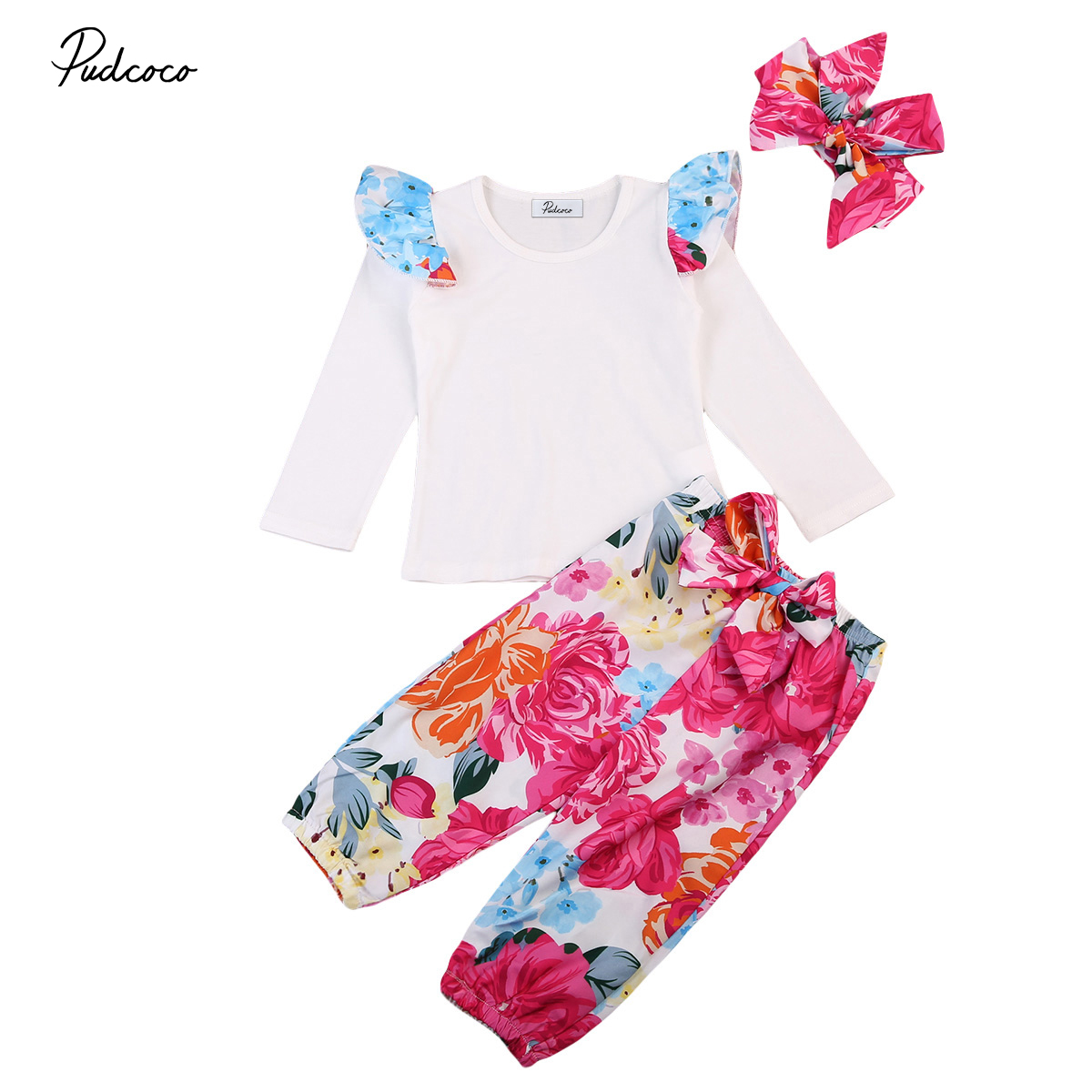 Cute 3pcs Toddler Newborn Kids Baby Girl Autumn Clothes Set T-shirt+Pants+Headband Outfits