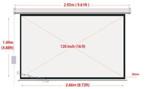 Image 2 - DHL شحن سريع كبير سينما شاشة عرض مزودة بموتور 120 بوصة 16:9 مات الأبيض ثلاثية الأبعاد شاشة العرض الكهربائية مع جهاز التحكم عن بعد