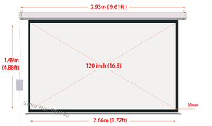 Image 2 - DHL Fast Shipping Big Cinema Motorized Projection Screen 120 Inch 16:9 Matt White 3D Projector Electric Screen With Remote
