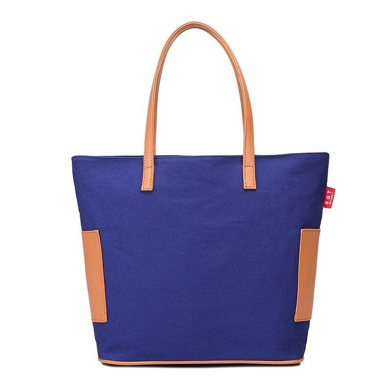 Korean women's one-shoulder bag color matching fashion big bag joker women carry large capacity canvas bag guangzhou factory korean style casual women s satchel with color matching and canvas design