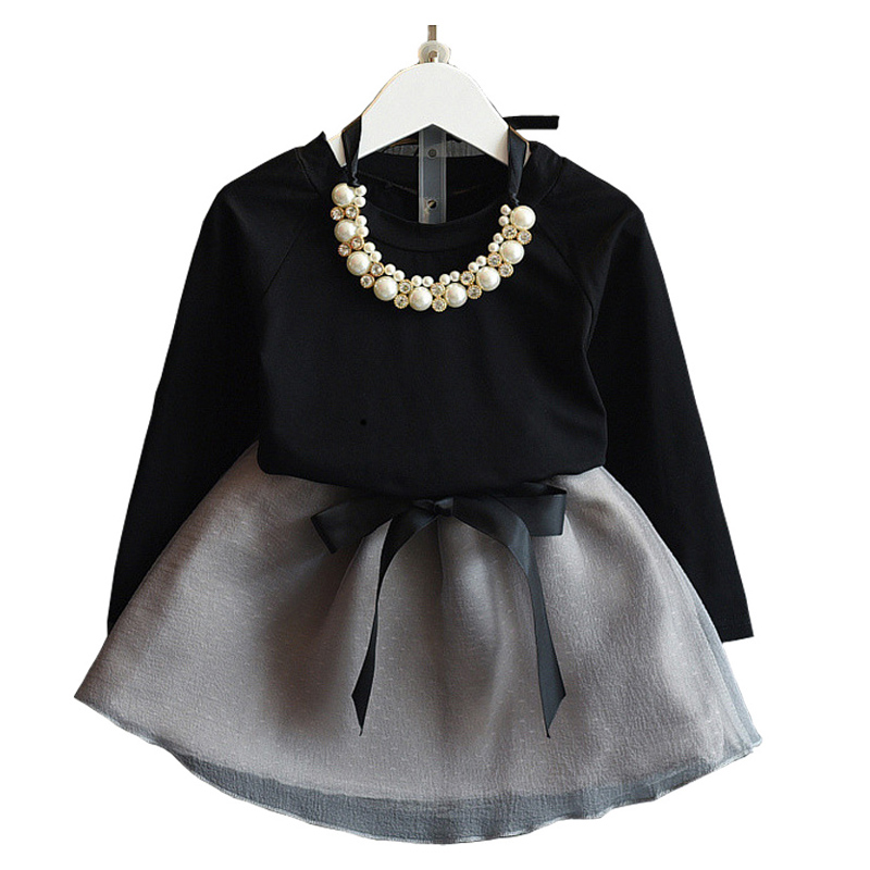 New Arrival Autumn&Spring Elegant Fashion Style Baby Girls Dress Suit Black Sleeved Tees+Mini Skirt Set Good Gift For Girl 3-7 Y