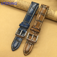 Quality Genuine Leather Watchband 18MM Retro Bamboo Style For Mens For Withings Activite Steel Pop Smart