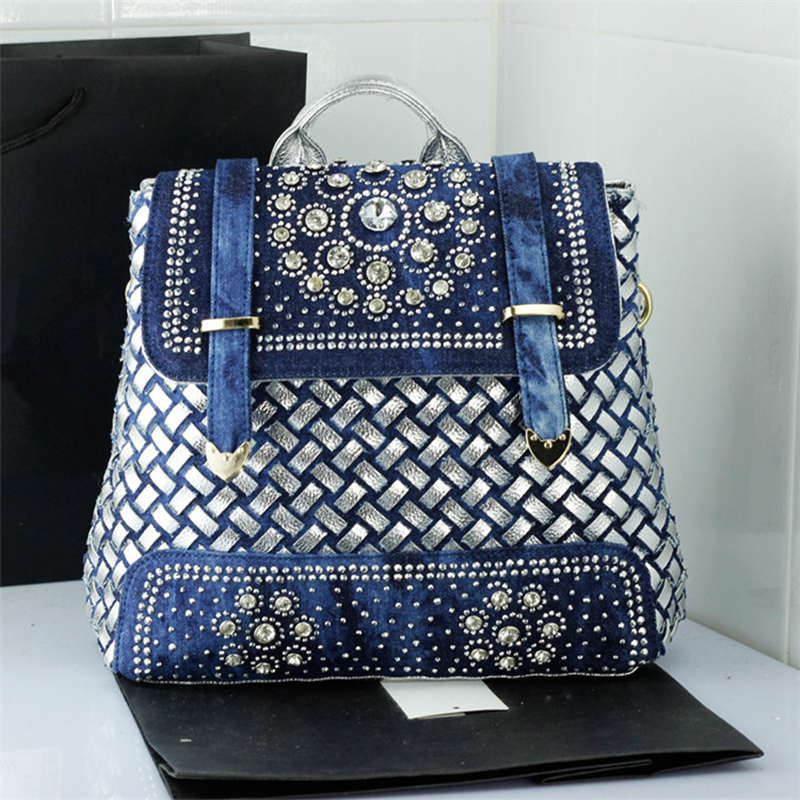 Women Bag School Backpacks for Teenager Girls Casual Travel Bags Women Rhinestone Weaving Leather Backpack Denim Rucksack A0213