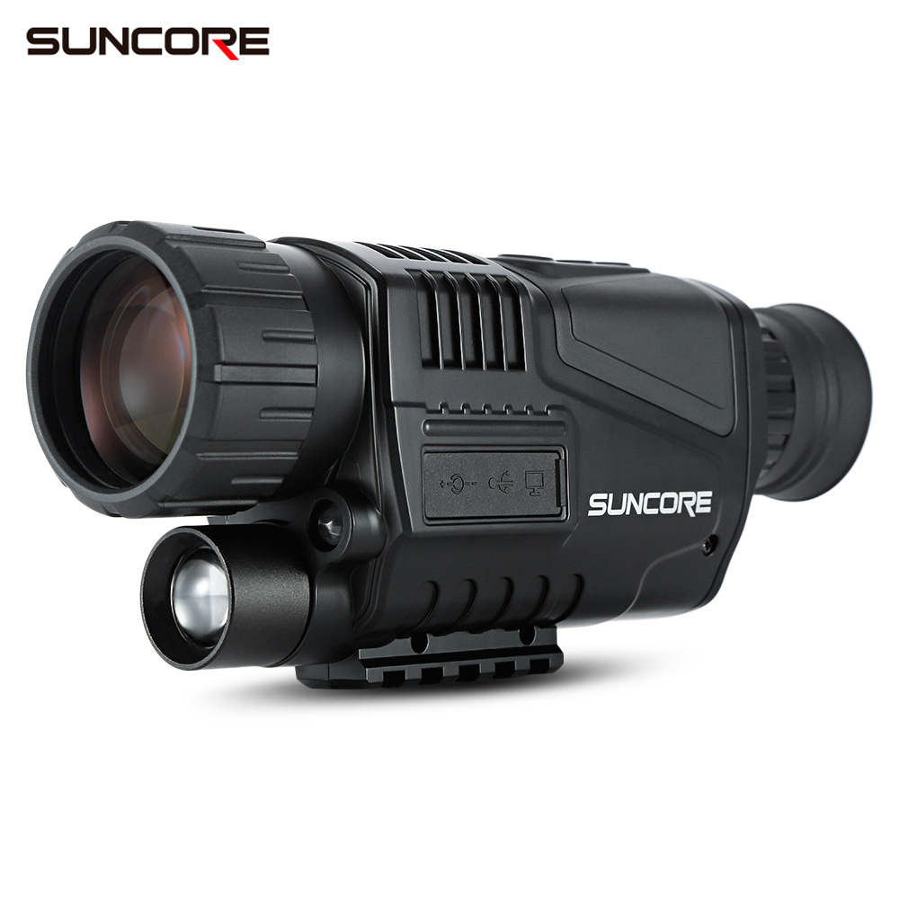 SUNCORE 5X40 Night Vision Monocular with 200M Infrared Camera Function for Hunting Home Security and Recording and Replaying 5x40 bak4 prism infrared night vision monocular camera