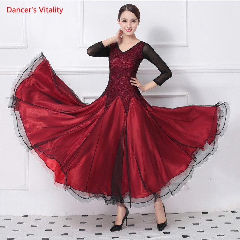 Salle de bal De Danse Concurrence Robe Costumes Big Swing Robes Standard De Danse Robe Pour Femmes Performance/Pratique Dancewears