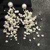 Hyperbole Natural Fresh Water Pearl Drop Earring Big And Small Size Mixed Long Earring Fashion Women