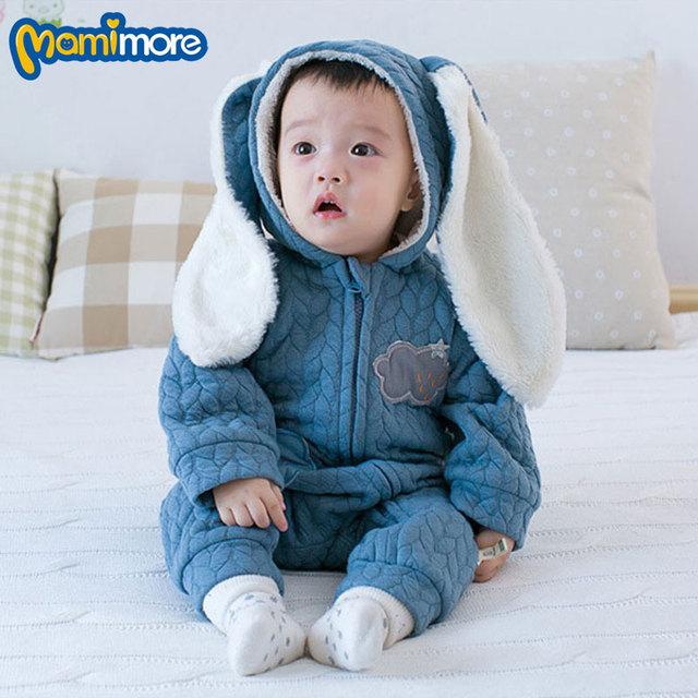 Mamimore Romper Do Bebê Traje Infantil Quente Com Capuz 2017 Roupa Do Bebê Recém-nascido Bonito Orelhas de Coelho Macacão Meninos Meninas Algodão ropa bebe