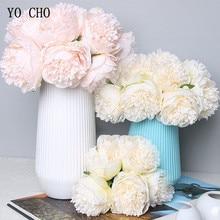 YO CHO 5pc 큰 모란 Artifcial 실크 플라워 웨딩 부케 장식 흰색 모란 홈 디스플레이 가짜 꽃 팩 하트 모란 핑크 로즈