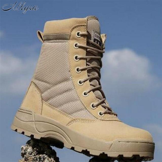 Mhysa 2018 mężczyźni Desert Tactical buty wojskowe męskie pracy bezpieczeństwa buty SWAT Army Boot Zapatos kostki sznurowane buty wojskowe s831