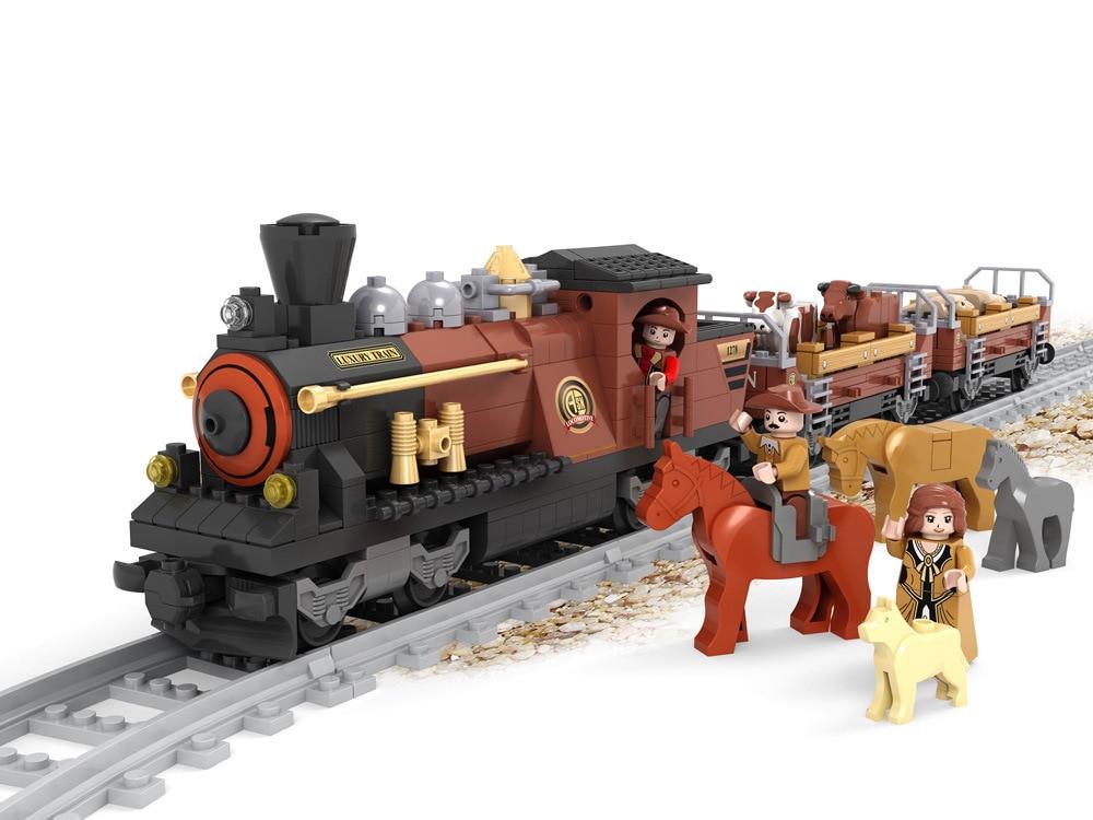 Transportation Building Block Sets Compatible with lego Adventure train 3D Construction Bricks Educational Hobbies Toys for Kids
