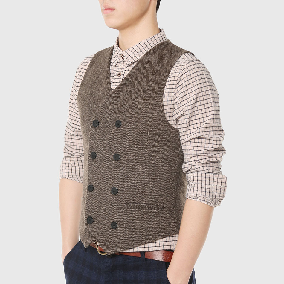 6a768d3ab8c0e Slim Men Double Breasted Vest Work Sleeveless Waistcoat Male City Trends  Coat Cotton Vintage Reporter Designer Geometric Stylish-in Vests    Waistcoats from ...