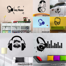 Funny DIY Music DJ Headphones Wall Stickers Boys Room Wall Decor Vinyl Decals Music Is My Life Fashion Design Home Decoration(China)