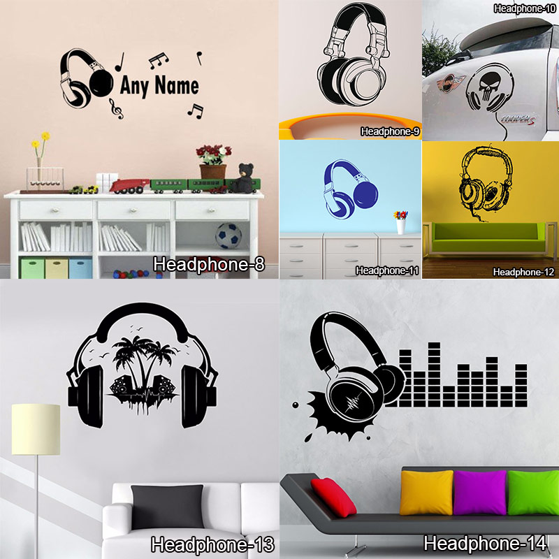 Funny DIY Music DJ Headphones Wall Stickers Boys Room Wall Decor Vinyl Decals Music Is My Life Fashion Design Home Decoration